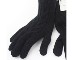 3 Ply Ladies Cashmere Cable Glove Black