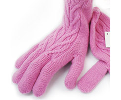 3 Ply Ladies Cashmere Cable Glove Gossip
