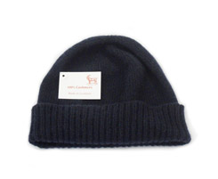 Ladies 3 ply Cashmere Hat Navy