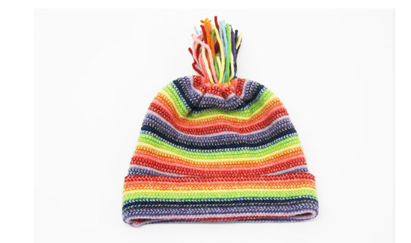 Childrens Lambswool Hats Rainbow